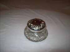 Vintage Pressed Glass Powder Jar with Floral Silver Plate Lid