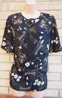 PRIMARK BLACK MULTI COLOUR FLORAL SHORT SLEEVE BAGGY BLOUSE T SHIRT TOP 14 L