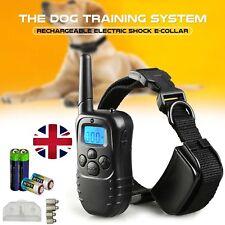 Anti-Bark Collar Dog Training Electric Shock Vibrate Remote Control Batteries UK