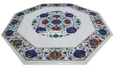 "18"" White Marble Coffee Table Top Lapis Carnelian Marquetry Stone Home Decorativ"