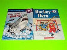 SCHOLASTIC LEVEL 3 GROWING READER BOOKS HOCKEY HERO HUNGRY HUNGRY SHARKS