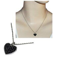 Collier chaîne pendentif coeur argent massif 925 cristal noir bijou necklace