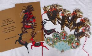 2 Lovely Vintage Style Paper Christmas Garlands Decorations Cats Reindeer