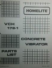 Homelite Concrete Vibrator Parts Manual (2 BOOKS) 8pg Construction Footings Prep