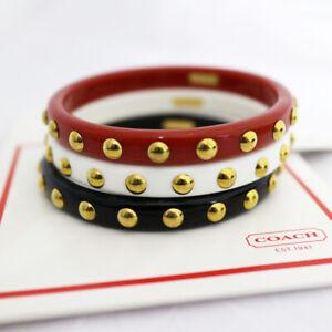 "NWT COACH 1/3"" Phoebe Nailhead BANGLE Bracelet - Set of 3 - Red/White/Black -NEW"