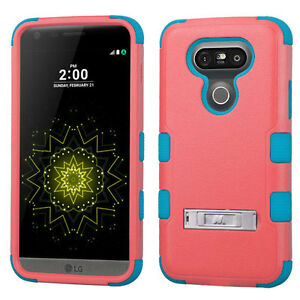 for LG G5 - SALMON PINK BLUE ARMOR HIGH IMPACT HYBRID KICKSTAND CASE PHONE COVER