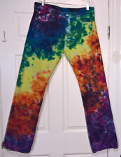 NEW Tie Dye Classic Levi's 501 Jeans 36 x 34 Button Fly 100% Cotton Rainbow