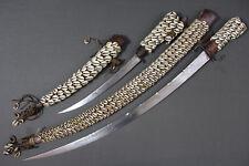 Rare kabyle algerian flyssa (flissa) sword and dagger with cauris - Early 20th