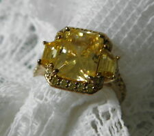JEAN DOUSSET CANARY YELLOW Simulated Diamond Gold Vermeil Ring Size 8