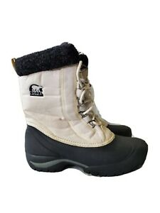 Sorel Thinsulate Womens Snow Boots Black White Lace Up Tall Winter Size 7
