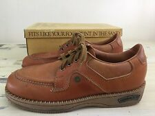 HUSH PUPPIES: Vtg 70s-80s Brown Leather Mall Walker Hip Hop Shoes in Box, Mens 9