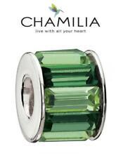 Genuine CHAMILIA sterling silver & Swarovski GREEN BAGUETTE charm bead