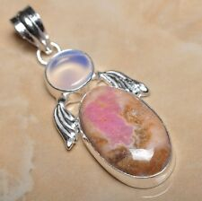 "Handmade Pink Rhodochrosite Gemstone 925 Sterling Silver Pendant 2.25"" #P11025"