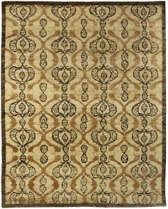 Contemporary Taj Brown Hand Knotted Wool Rug N10487