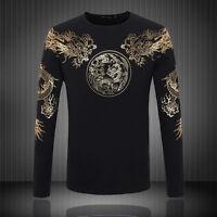 Man black dragon shirt breathable long sleeve dragon clothes shirt black