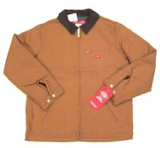 NWT $109 Womens Dickies x Urban Outfitters Flannel Lined Jacket Brown Tan sz M