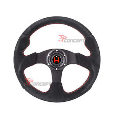 320mm JDM Steering Wheel Black Suede Red Stitch Horn Button w/Red H Emblem