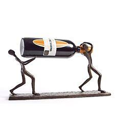 Danya B™ Two Men Carrying a Bottle Metal Wine Holder Zi7237
