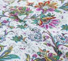 Romantic printed silk cotton fabric,floral silk,countryside style,white,yardage