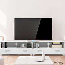 180cm TV Stand Entertainment Unit 3-in-1 Design  2 Drawers 4 Shelves White