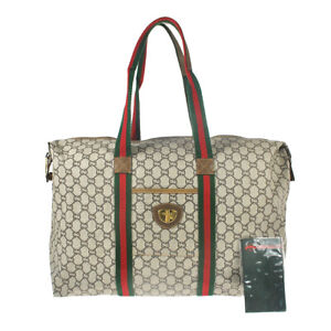 Q7 GUCCI PLUS Auth Sherry Webbing Travel bag Shoulder Hand Bag Leather Vintage