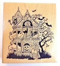 Vintage Haunted House Rubber Stamp Scary Tree Halloween Bats Ghosts PSX Rare HTF