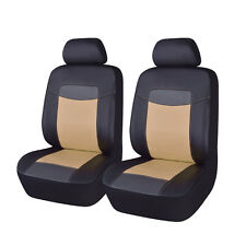 Universal Front Car Seat Covers Black Beige PU Leather Cushions 6 PCs Auto Cover