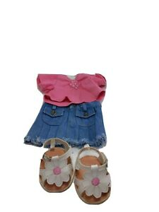 The Bear Mill 3 piece Outfit Skirt Shirt Shoes Sandals Bear Clothing