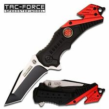 TAC FORCE Spring Assisted Fire Fighter Black Red Tactical Rescue Pocket Knife