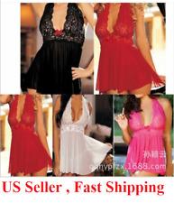 23w Sexy-Lingerie-Women-Silk-Lace-Robe-Dress-Babydoll-Nightgown-Sleepwear