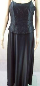 New Max Trend Black Satin Spaghetti Strap Long Formal Dress - Women Size 10