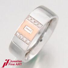 Damenring in 585/14K Weißgold/Rotgold - Diamanten ca. 0,12 ct TW-IF - 7,7 g