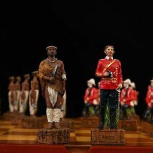 32 Pcs Chess Pieces Hand Carving Drawn African Colonial Wars Collectible Sets