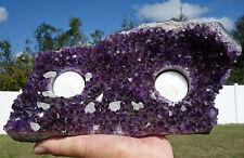 AMETHYST Crystal  Double Votive Candleholder Rich Purple Calcite Points Quartz