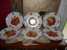 Lot 6 MITTERTEICH BAVARIA Germany PORCELAIN FRUIT PLATES GOLD Salad Display NOS