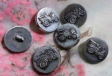 lot 6 ANCIENS BOUTONS VOITURE TACOT EN RESINE ARGENTE vieilli VINTAGE 23 mm T7