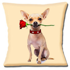"Funny Fawn Chihuahua holding rose dans la bouche photo print 16 ""Oreiller Coussin Couverture"