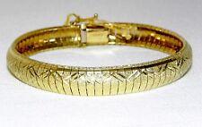 "New 14K Yellow Gold 7"" Italian Omega Bracelet 17.4 Grams 9mm Safety Clasp Italy"