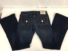 "TRUE RELIGION WOMEN'S JEANS  JOEY SIZE 24 BOOTCUT DARK BLUE 27"" INSEAM PANTS EUC"
