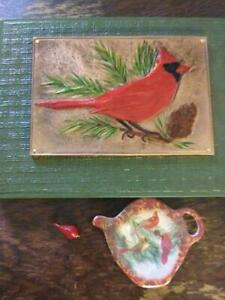 Gifts for the Cardinal Lover - Copper Repousse, Tea Spoon Rest, Christmas Charm