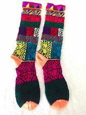 Hand knitted handmade Peruvian winter ethnic long socks  AB52