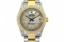 31MM MIDSIZE ROLEX DATEJUST GOLD S/S WATCH 2 CT DIAMOND GOLD BEZEL MODEL 68273