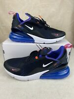 New Men's Nike Air Max 270 Running Shoes Size 9.5 Black White Blue DC1858-001
