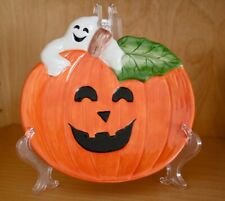 Nib Fitz and Floyd Pumpkin Ghost 2050/280 Canape/Candy Plate Nib Orange