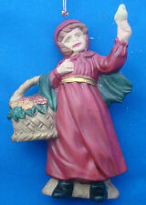 """Christmas ornament porcelain red riding hood girl with basket and bird 4¼"""" tall"""