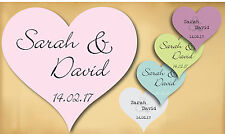 50 Personalised Wedding Colour Heart Stickers Decoration Seals Labels Favours