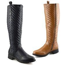 Ladies Womens Knee High Zip Up Winter Riding Block Heel Biker Boots Shoes Size