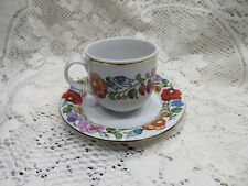 KALOCSA HAND PAINTED PORCELAIN  COFFEE CUP & SAUCER