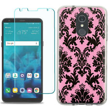 TPU Phone Case for LG Stylo 5 w/ Tempered Glass - Victorian Pink