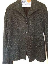 GIANNI 3 button Woman's Blazer Size 14. Blue, Black, Green Herringbone Pattern